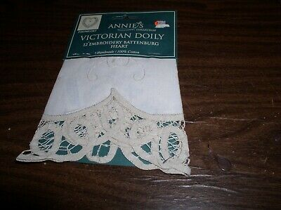 "ANNIE'S 12"" Victorian Embroidery Battenburg Heart Doily by Peking Handcrafts for sale  Woodstock"