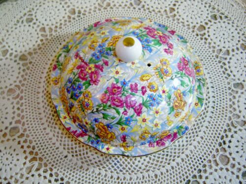 Antique SUSSEX CHEERY CHINTZ Erphila Bavaria Covered Butter Dish