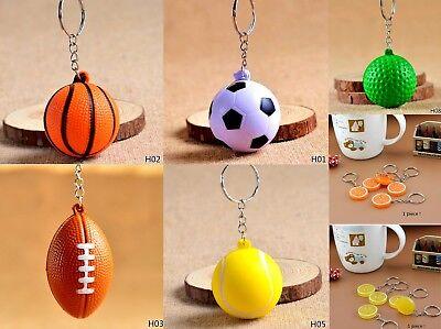 Sports Ball Keychains Small Foam Stress Balls Basketball Football Soccer Tennis