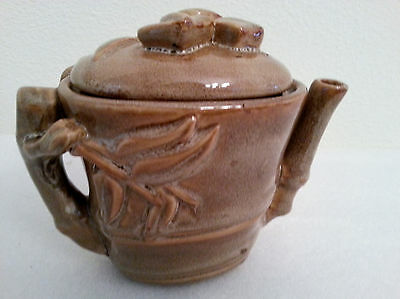 Vintage Ceramic Brown Leaves Tea Pot Kettle