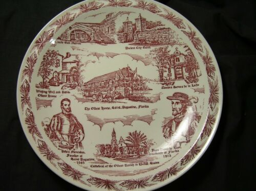 ST. AUGUSTINE, FLORIDA Vintage Vernon Kilns Souvenir Plate USA WONDERFUL!