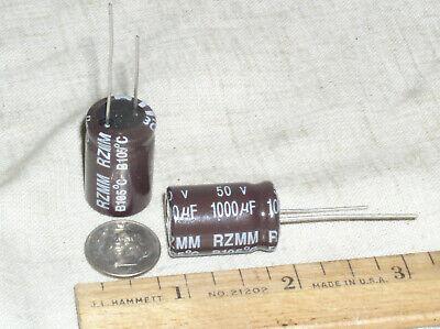 2 Ic 108rzm050m 1000uf 1000 Mfd 50v Hi Temp Electrolytic Illinois Capacitor Usa