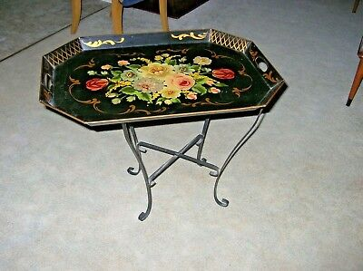 Vintage Tole Tray Table w Foldiing Iron Stand Polychrome Floral Very Clean Large Vintage Tole