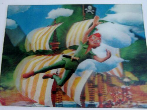 Vintage 1966 Lenticular 3-D Jones Pub Disney Postcard Peter Pan Capt Hook