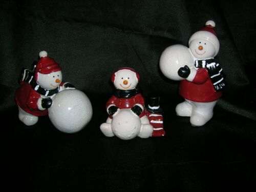 Set of 3 Ceramic Figurines of Snowmen Building a Snowman