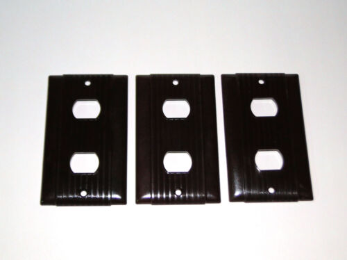 3 Vintage Uniline Ribbed Bakelite Brown Despard Switch Plate Outlet  Covers Deco