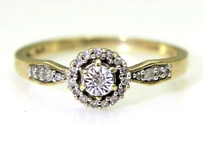 Pretty Diamond Cluster 9ct Yellow Gold Ring size J ~ 4 3/4