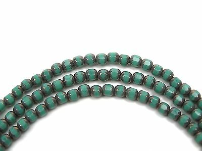 45 Czech Glass Smooth Cathedral FP Beads 4mm Turquoise with Bronze Picasso, P208