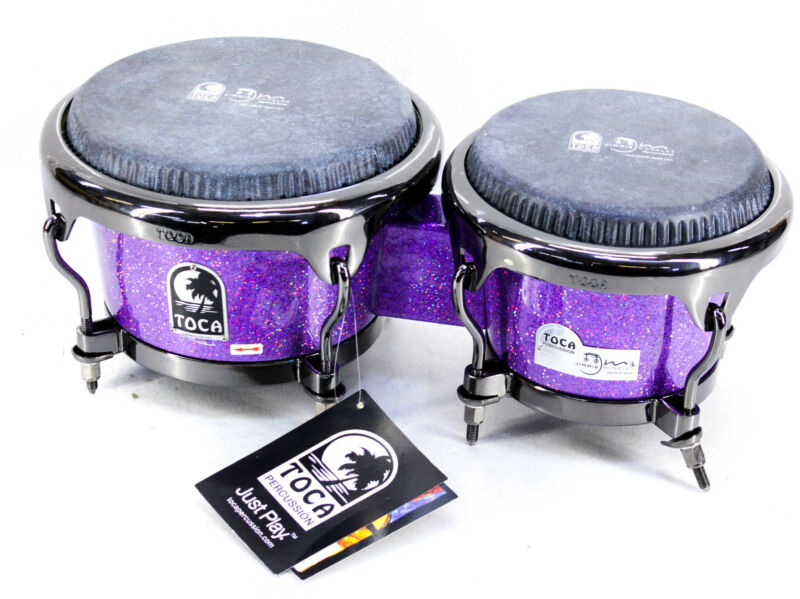 Toca Jimmie Morales Signature Series Purple Sparkle Bongos 7 and 8.5 in. Purple