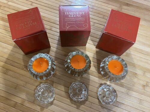 "3 - Vintage 1982 Avon Glass ""HARVEST GLOW"" Spice Garden Fragrance Candles - LNIB"