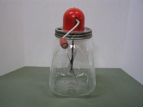 Vintage DAZEY Butter Churn #4 RED Bullet Top/Crank Handle on Glass Jar/Barrel