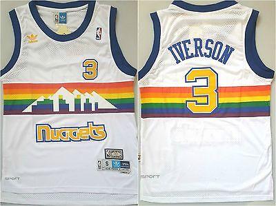 NBA ALLEN IVERSON DENVER NUGGETS #3 SWINGMAN JERSEY WHITE  SIZE  S/M/L