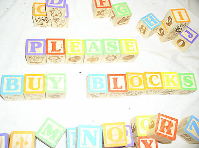 48 CHILDRENS WOOD WOODEN ALPHABET PICTURE BUILDING BLOCKS CHILDS LEARNING TOY