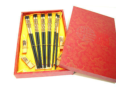 Chinese Chopsticks in Decorative Red Wood Box, NIB