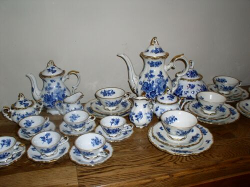Echt Cobalt Bavaria Waldershof Germany Handarbeit 22K  Coffee, Tea, Plates Set!!