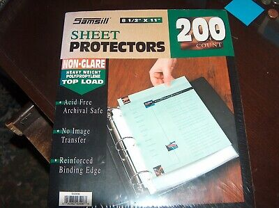 Samsill 200 Clear Heavy Weight Sheet Protectors Top Load 8.5x11 Sheets Nonglare