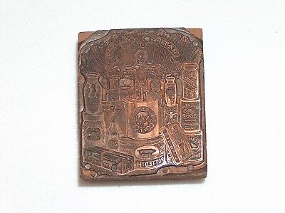 Antique Happy New Year Print Block Kitchen Goods Potted Ham Pig Coffee Soup.