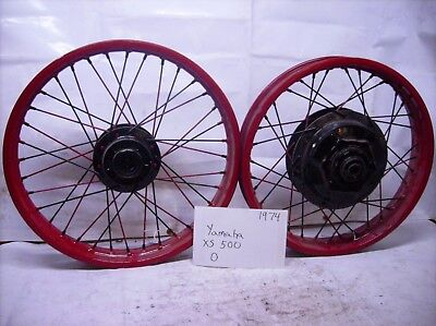 1974 Yamaha XS500 XS 500 front rear wheel rim set   O