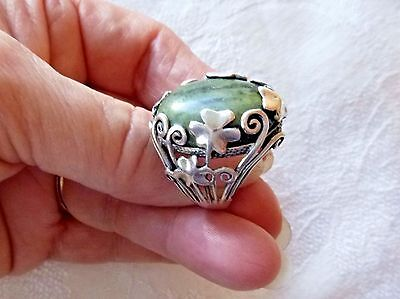 Vintage Sterling Silver Ring Shamrock Design Connemara Marble Cabochon Sz. 7.25