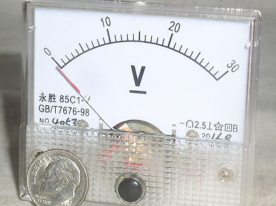 1 New 30v 30 24 V Volt Dc Analog Needle Panel Meter Voltmeter Class 2.5 Nib Usa
