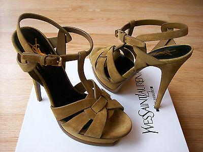 YSL Yves Saint Laurent Tribute Sandals Platform Pumps Tan Suede sz 39 US 9 NEW