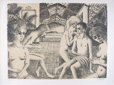 Paul DELVAUX s/n Original Lithography L'Amoureux - Mira Jacob N°50