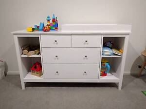 White NZ Pine 5 Drawers Change Table Dresser Chest of Draw Cabine Templestowe Manningham Area Preview