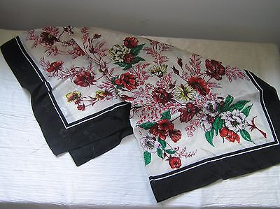 Vintage Red & Yellow Floral on Cream & Black Background Women's Neck Scarf –~30