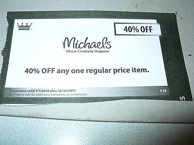 Gift Card Coupon Michaels Crafts Hobby 40  Off Item Purchase Gifts Expdec2017