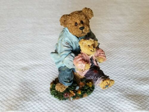 Boyds Bear Bearstone Daddy and Ali Playful Pastimes Figurine With Box #228511