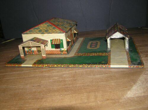 "Marx Vintage Tin Lithographed House, Garage on Platform 11"" x 17"""