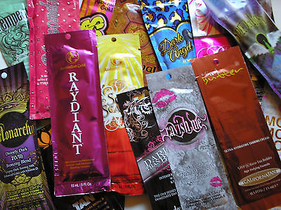10 Assorted Indoor Tanning Lotion Packets Great Variety NO DUPLICATES ()