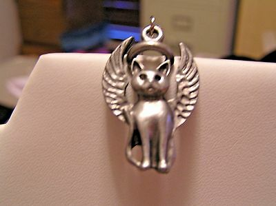 *REDUCED PRICE* HANDCRAFTED PEWTER GUARDIAN ANGEL CHARM/TAG FOR CAT