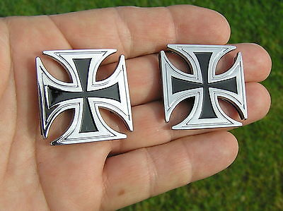 (IRON CROSS PAIR BADGES CAR MOTORCYCLE EMBLEMS *UNIQUE* Badges Small Size)
