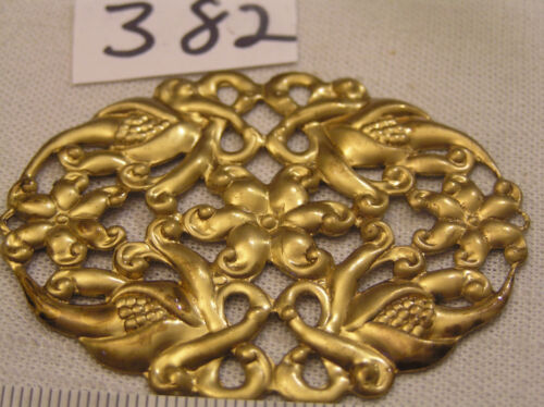 Vtg Fancy Oval filigree Floral Brass 60x50mm Jewelry Finding Haskell Look Craft