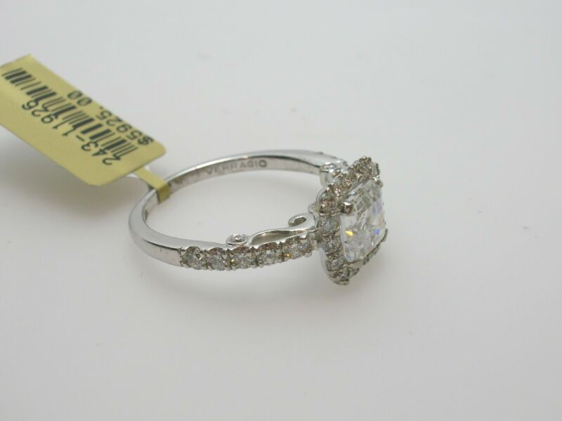 Verragio 18k White Gold Halo Semi-mount 0.85 Ctw Side Diamonds - Size 6.5 Us