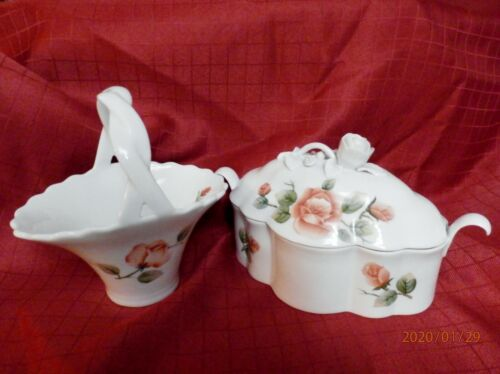 PINK ROSES Hand-painted Scalloped Porcelain BASKET & DISH w/LID WH ROSE HANDLE