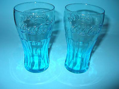 Set of 2 COKE COCA COLA 16 OZ AQUA BLUE GREEN GLASSES