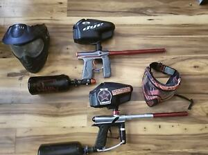 2 paintball guns for sale with accessories