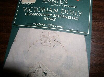 "ANNIE'S 10"" Victorian Embroidery Battenburg Heart Doily by Peking Handcrafts, used for sale  Woodstock"