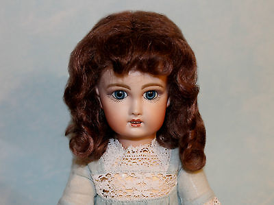 Dee Light Brown mohair wig for antique French German doll Sz7