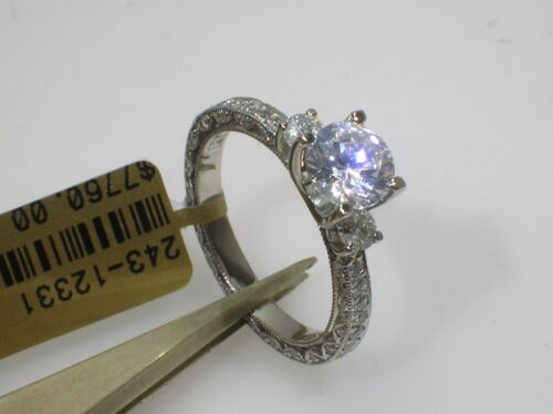 Tacori Platinum Beaded Edge Setting 0.90 Ctw Diamonds - Size 6.5 Us-retail $7760