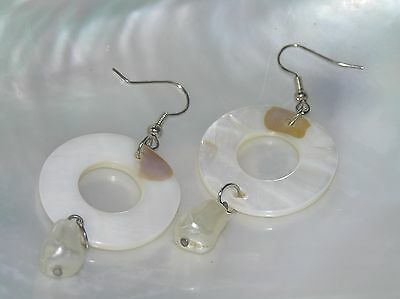 Estate Large Open Circle Mother of Pearl with Faux Pearl Bead Dangle Earrings Circle Mother Of Pearl Earrings