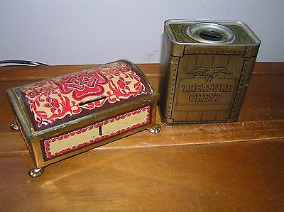Vintage Lot of 2 Gold & Black Treasure Chest Red Floral Dome Footed Tin Metal