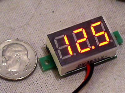 Small 3 Digit Red Led 2 Wire Autorange Digital Panel Voltmeter 3-30v Usa Free Sh