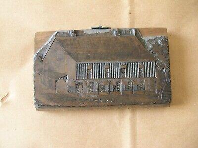 Vintage Copper Letterpress Printing Block. Horse Stables. 6 X 3 12