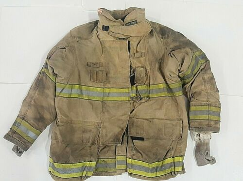 50x35 Globe Firefighter Brown Gxtreme Turnout Jacket Coat with Yellow Tape J815