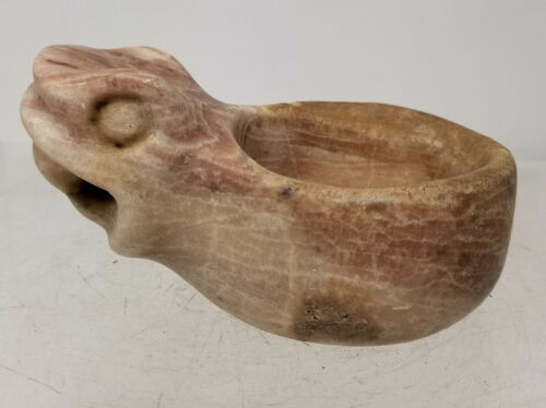 Antique Native American Indian Mayan Incan Carved Snake Jaguar Stone Bowl