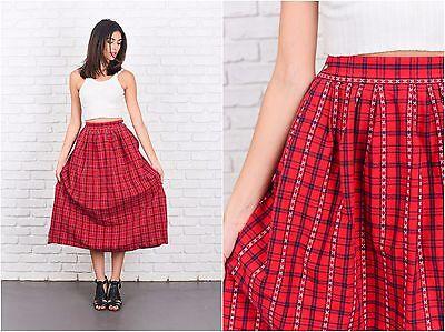 Vintage 80s Red + Black Retro Skirt Pleated Plaid Striped A Line Midi S M