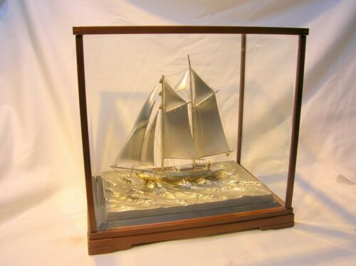 JAPAN VINTAGE .970 STERLING SILVER MODEL SAILING BOAT WITH CASE - VERY NICE!!!!